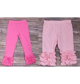 Adora-Bay Pink Ruffle Bottom Leggings