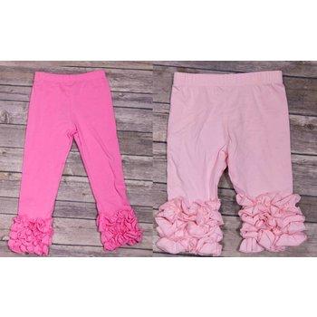 Adora-Bay Pink Ruffle Bottom Leggings