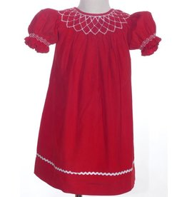 Mom & Me Corduroy Red Smocked Dress