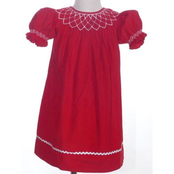 Mom & Me Corduroy Red Smocked Dress