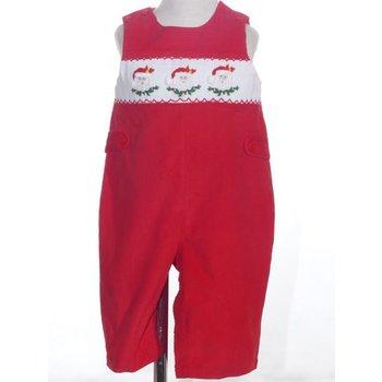 Mom & Me Red Corduroy  Smocked Santa Shortall