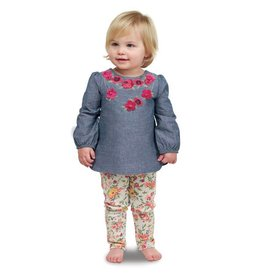 Mud Pie Floral Chambray Tunic And Leggings
