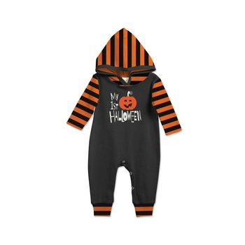 Tesa Babe My First Halloween Black Jumpsuit with Stripe Sleeves