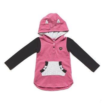 Noruk Pink Hooded Tunic with Arm Pocket