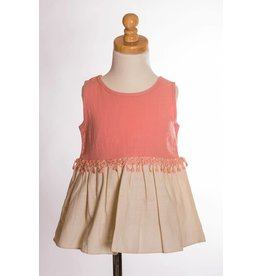 MLKids Coral and Cream Girls Tween Top