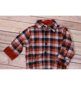 Frenchie Burnt Orange and Navy Plaid Shirt