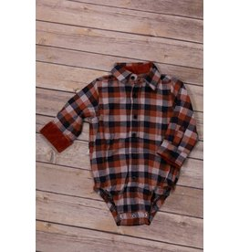 Frenchie Burnt Orange and Navy Plaid Bodysuit