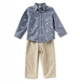 Little Me Chambray Dog Print Set
