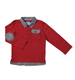 Kapital K Ketchup Pique Polo With Plaid Detail