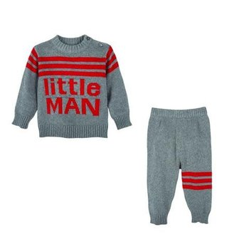 Andy&Evan Little Man Red and Grey Sweater Set