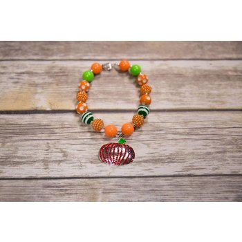Red Bling Pumpkin Chunky Necklace