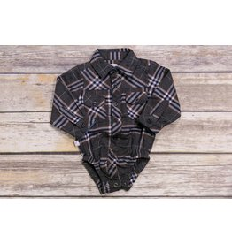 Frenchie Grey Navy and Brown Plaid Button Up Onesie
