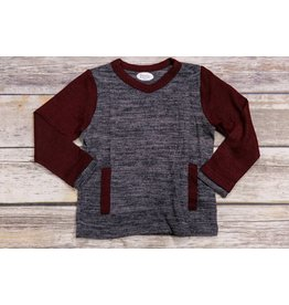 Frenchie Grey And Burgundy Sweater
