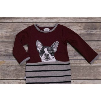 Frenchie Dog Striped Romper