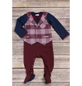 Frenchie Wine Plaid Bowtie Vest Romper
