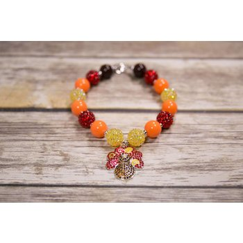 Bling Thanksgiving Turkey Chunky Necklace