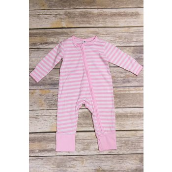 Earth Baby Outfitters 2 Way Zippy Pink Stripe Bamboo Sleeper