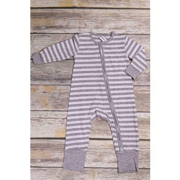 Earth Baby Outfitters 2 Way Zippy Grey Stripe Bamboo Sleeper