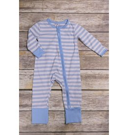 Earth Baby Outfitters 2 Way Zippy Blue Stripe Bamboo Sleeper