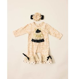 Peaches 'n Cream Black And Ivory Damask Christmas Romper