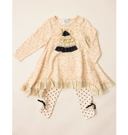 Peaches 'n Cream Black and Gold Christmas Tree Tunic Set