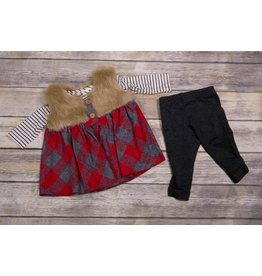 Peaches 'n Cream Cabin Princess Plaid and Fur Tunic Set