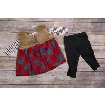 Peaches 'n Cream Cabin Princess Plaid and Fur Tunic Set