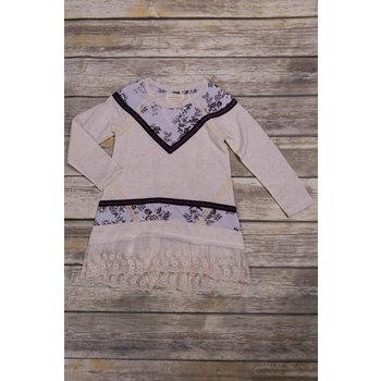 Hannah Bananna Beige Pull Over Tunic with Floral Print and Lace Trim