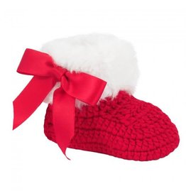 Baby Deer Newborn Red Knit Booties with White Fur