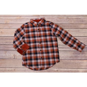 Frenchie Grey Navy and Brown Plaid Button Up Shirt