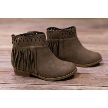Baby Deer Taupe Fringe Ankle Boot with Cut Out Design