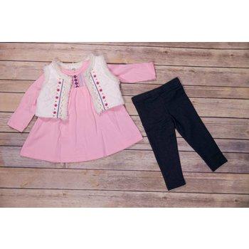 Little Me Boho Embellished Tunic and Vest Set