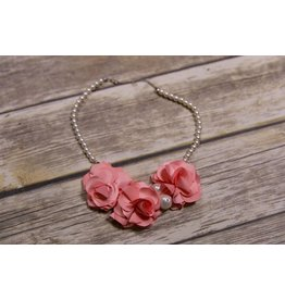 Mae Li Rose Coral Floral Pearl Necklace