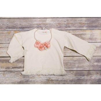 Mae Li Rose Ivory Fringe Sweatshirt