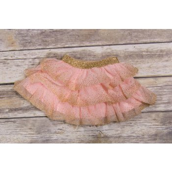 Calla Lily Pink And Gold Layered Mesh Skirt