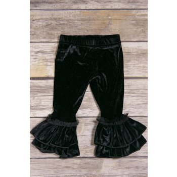 Calla Lily Black Velvet Bellbottoms