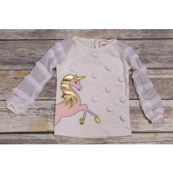 Calla Lily Ivory Mesh Unicorn Shirt