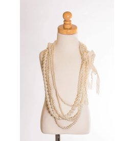MLKids Multi-Strand Pearl Necklace with Crochet Straps