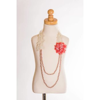 MLKids Lace and Pearl Flower Necklace