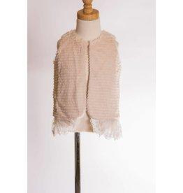 MLKids Pink Fur Vest With Lace Trim