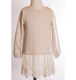 MLKids Ivory Eyelet Lace Trim Sweatshirt
