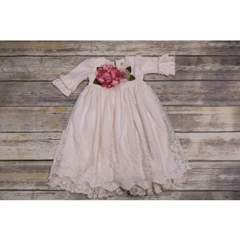 Frilly Frocks Francine Lace with Dusty Rose Flower Gown