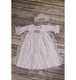 Frilly Frocks Bethany White Lace and Jewel Gown 0-3M
