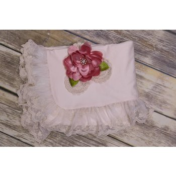 Frilly Frocks Francine Blush Blanket with Dusty Rose Flower