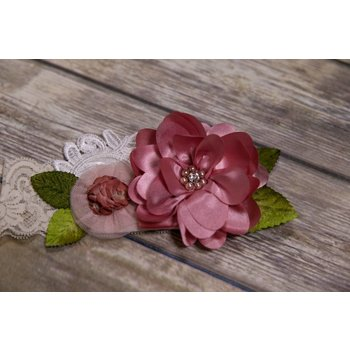 Frilly Frocks Dusty Rose Flower and White Lace Headband