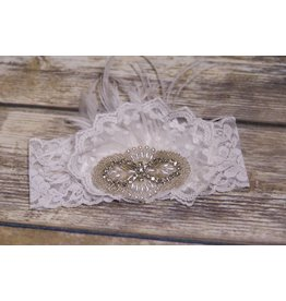 Frilly Frocks Bethany White Lace Feather and Jewel Headband