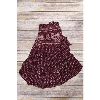 Bela & Nuni Burgundy Tie Around Boho Skirt