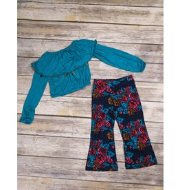 Bela & Nuni Turquoise Long Sleeve Charm Crop Top