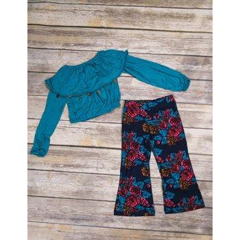 Bela & Nuni Turquoise Long Sleeve Charm Crop Top