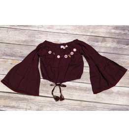 Bela & Nuni Burgundy Mini Mirror Tassel Crop Top
